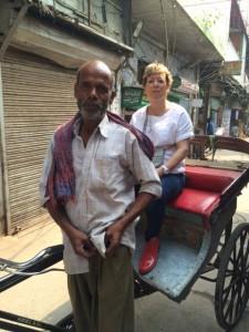 Nellie on a rickshaw