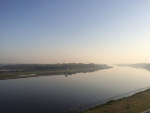Yamuna river as the sun rises